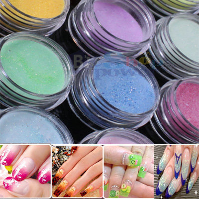 12 Color Nail Art Acrylic Powder Glitter for Acrylic Liquid Forms Decoration