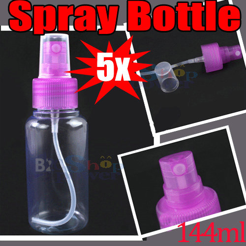 5x Compact Makeup Pink Clear Plastic Cosmetic Empty Spray Bottle