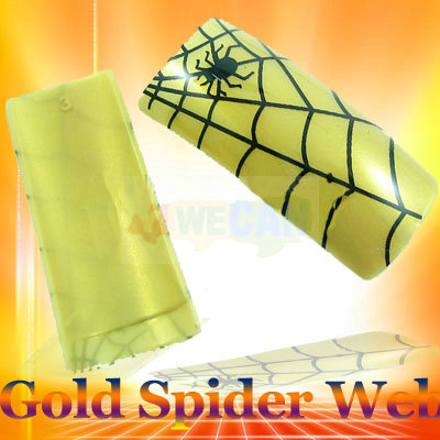 Spider Web Golden False French Acrylic Nail Tips 70PCS