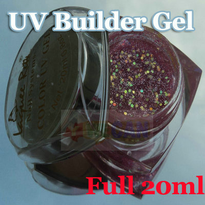 Full 20ml Nail Art Tips UV Builder Gel Glitter Purple