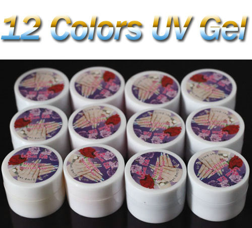 Opaque Mixed 12 Pure Solid Colors UV Builder Gel Set for Nail Art Tips DIY 8ml