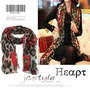 Large Leopard Heart Shape Print Scarf Wrap Shawl - Rose Red Heart
